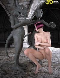 Two renaissanceera punk girls fuck bizarre creatures - part 498