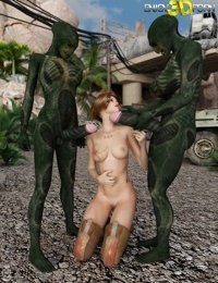 This two alien dicks is too big for her mouth - part 499